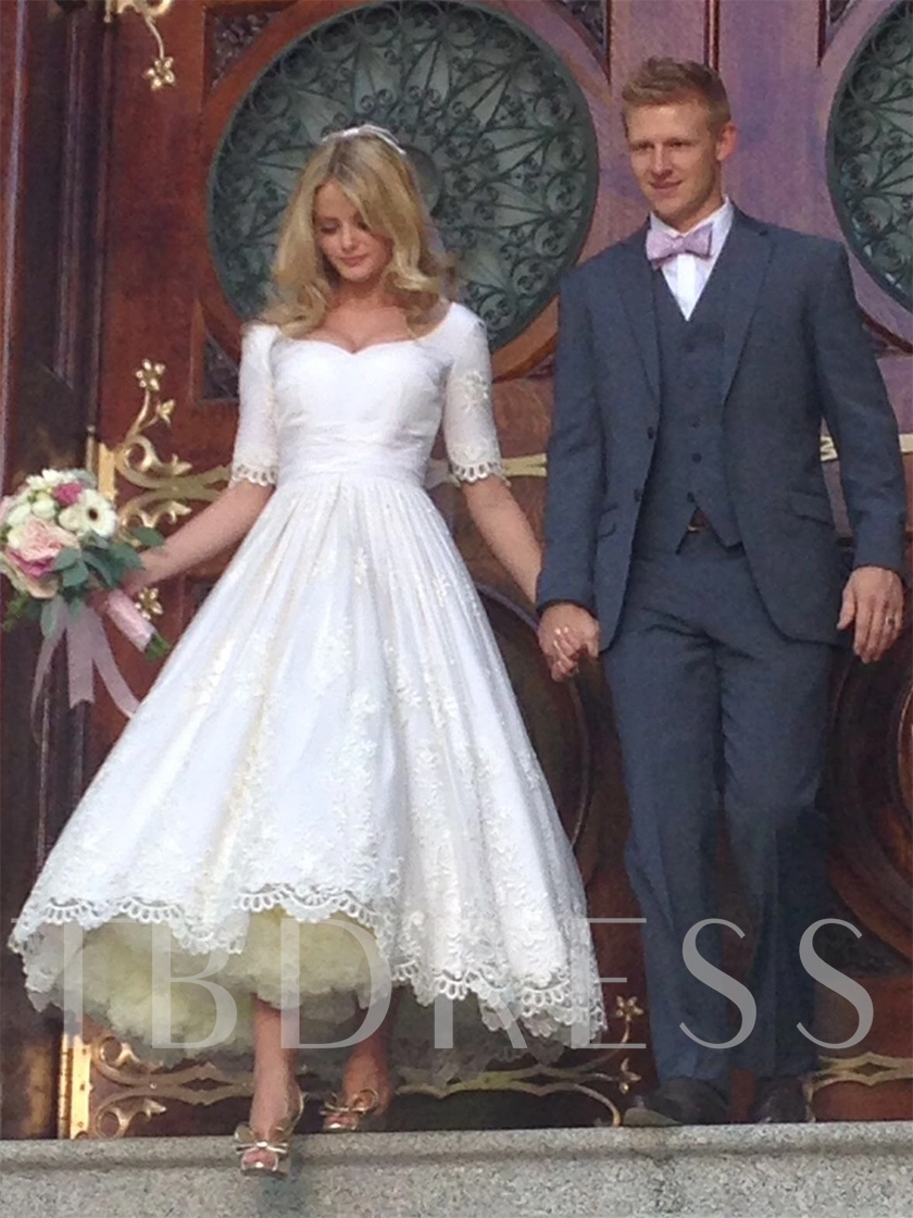 Tea-Length Lace Half Sleeves Ball Gown Wedding Dress 2020