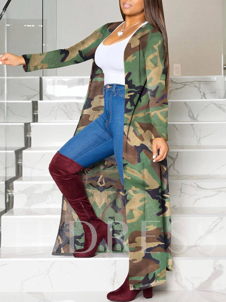 Print Long Camouflage Straight Women's Trench Coat