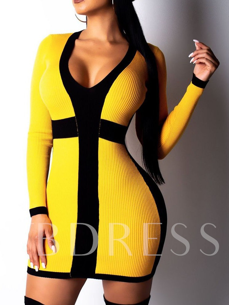 Patchwork Above Knee Long Sleeve V-Neck Casual Women's Dress