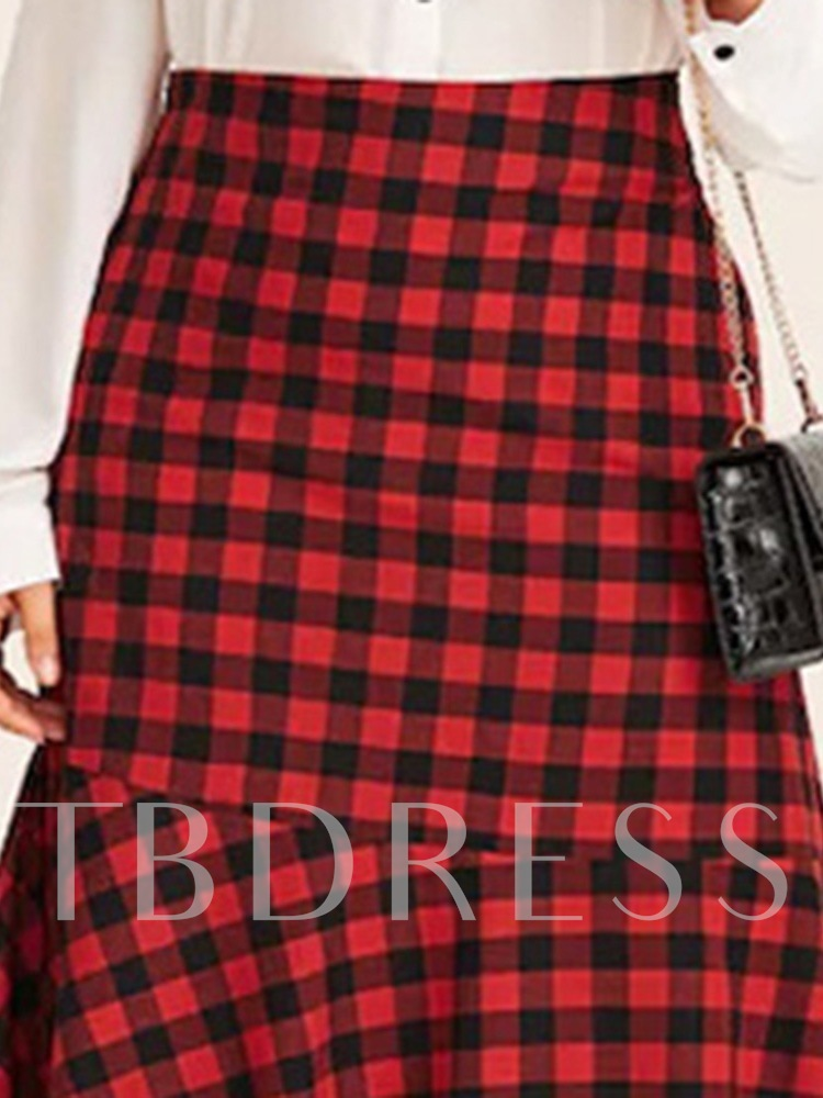 Plaid Asymmetric Mid-Calf A-Line Elegant Women's Skirt