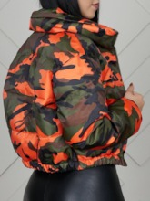 Thick Zipper Straight Camouflage Short Women's Cotton Padded Jacket