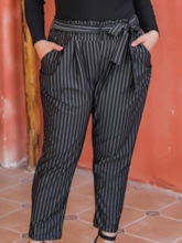 Plus Size Stripe Lace-Up Slim High Waist Women's Casual Pants