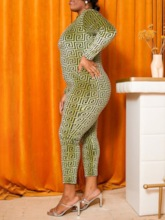 Plus Size Print Casual Ankle Length Skinny Women's Jumpsuit