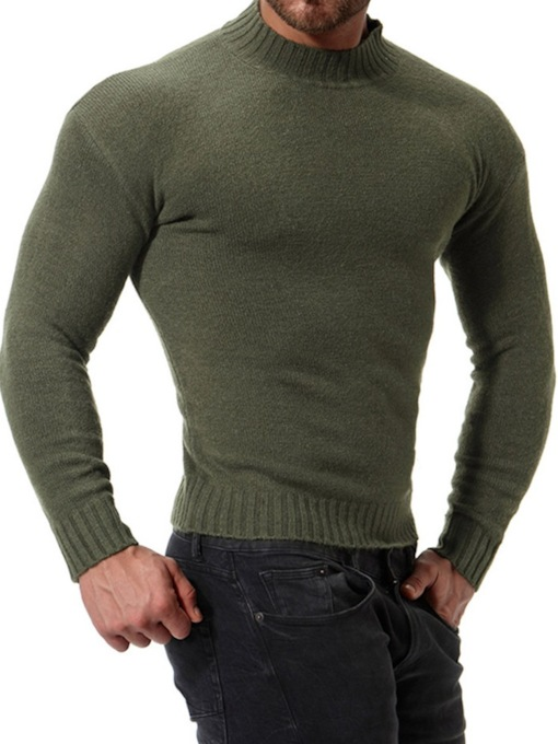 Stand Collar Plain Color Slim Men's Sweater