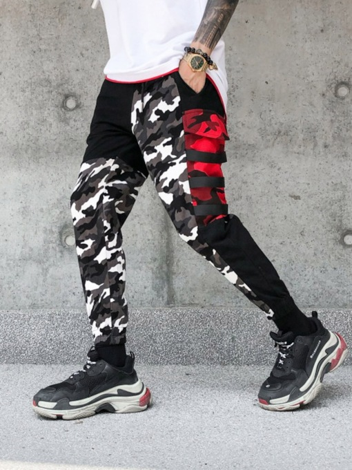 Camouflage Color Pencil Style Print Hip Hop Men's Casual Pants