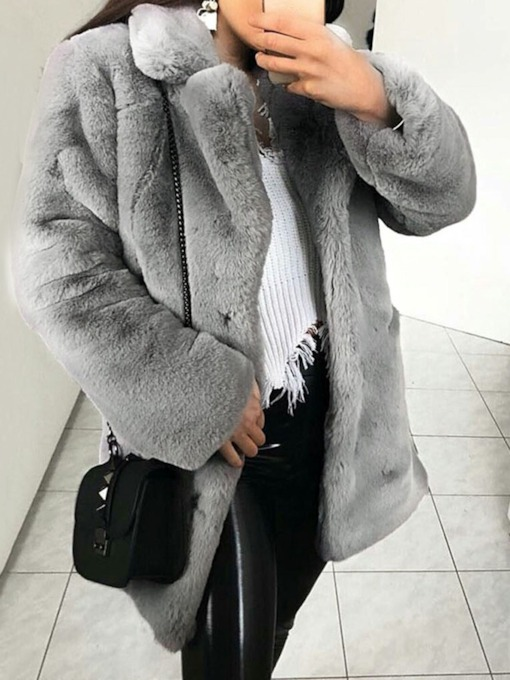 Mid-Length Lapel Thick Women's Faux Fur Overcoat