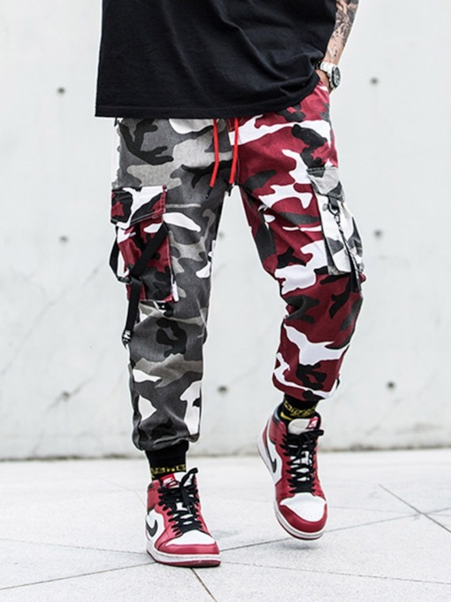 Pocket Camouflage Color Overall Casual Men's Pants