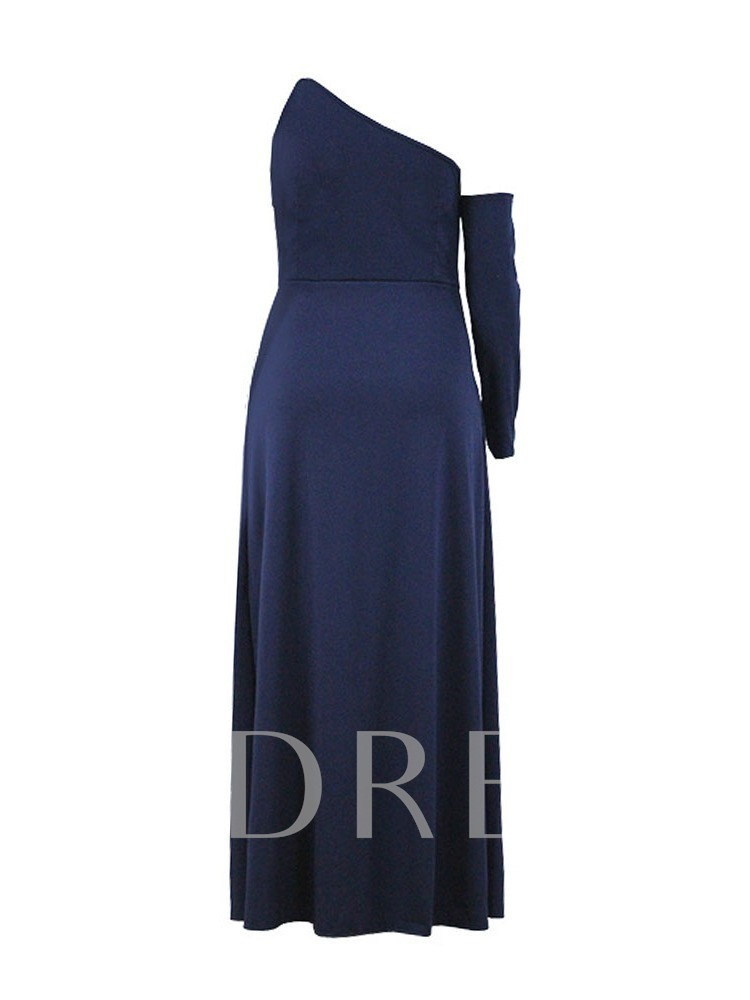Oblique Collar Long Sleeve Floor-Length Split Plain Plus Size Women's Dress