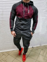 Patchwork Casual Hoodie Style Color Block Men's Outfit