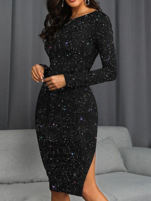 Knee-Length Round Neck Sequins Long Sleeve Mid Waist Women's Dress