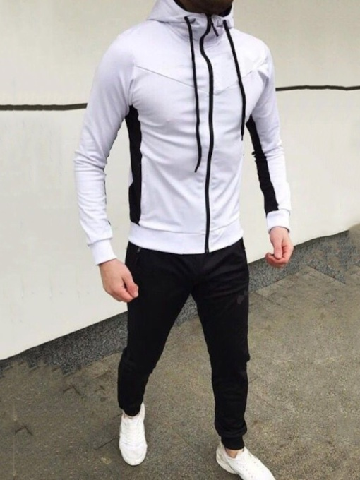 Sports Color Block Hoodie Patchwork Men's Outfit