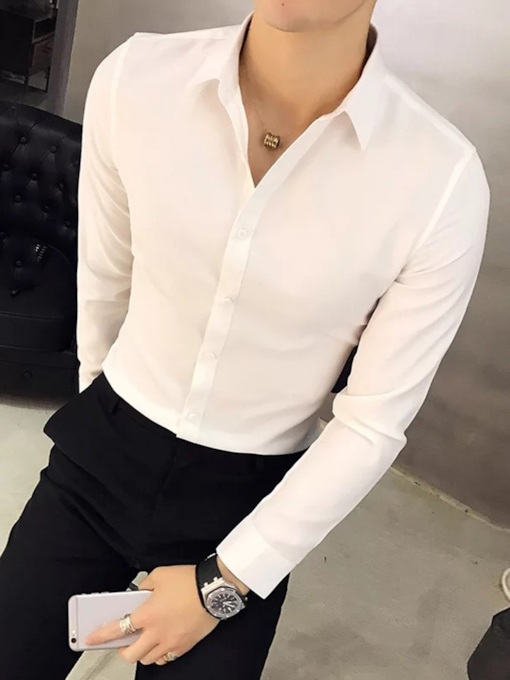 Casual Lapel Plain Color Men's Shirt
