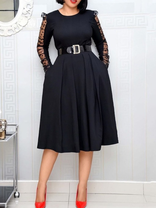 Mid-Calf Long Sleeve Belt Round Neck Pullover Women's Dress