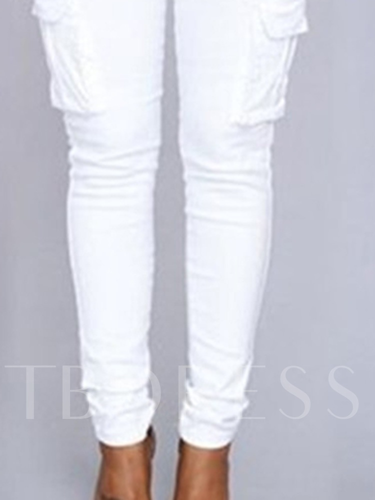 Skinny Plain Lace-Up Women's Casual Pants