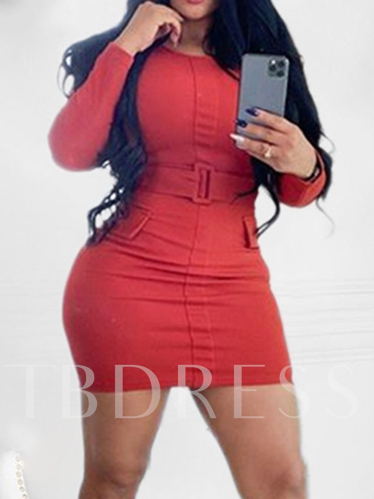 Long Sleeve Above Knee Belt Round Neck Spring Women's Dress