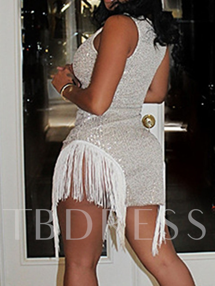 Round Neck Above Knee Sleeveless Sequins Pullover Women's Dress