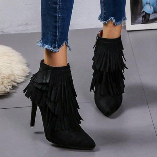 Stiletto Heel Plain Pointed Toe Side Zipper Tassel Booties