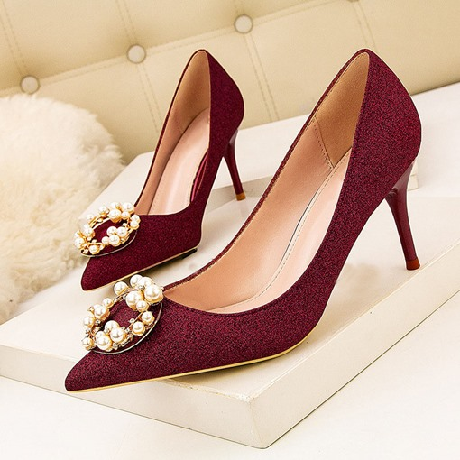 Stiletto Heel Thread Slip-On Pointed Toe Sweet Pumps