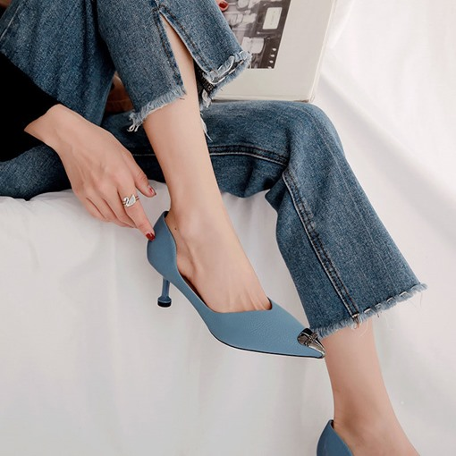 Pointed Toe Slip-On Stiletto Heel Patchwork Casual Pumps