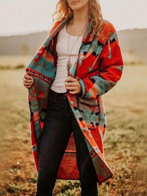 Color Block Print Loose Long Women's Overcoat