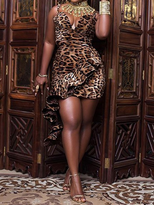 Leopard Sexy Print Bodycon Women's Two Piece Sets