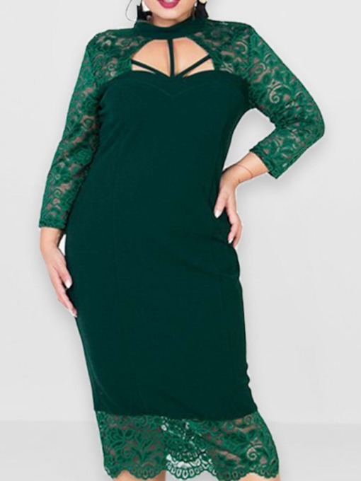 Lace Mid-Calf Nine Points Sleeve Stand Collar Plus Size Women's Dress