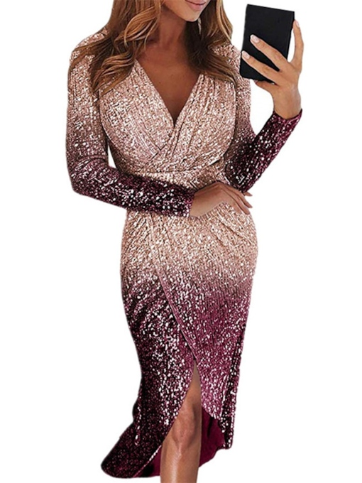 V-Neck Mid-Calf Long Sleeve Sequins Bodycon Women's Dress