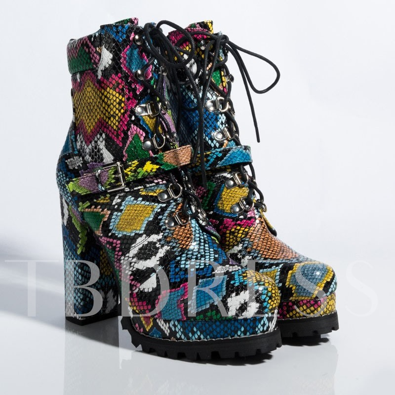Round Toe Lace-Up Front Chunky Heel Snake Skin Booties