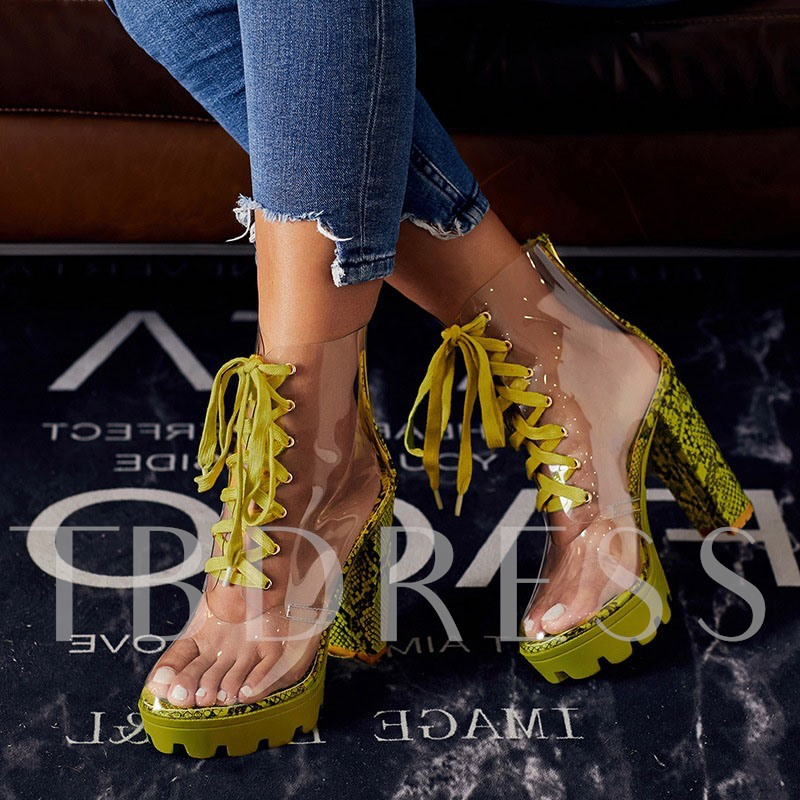 Back Zip Chunky Heel Round Toe Color Block Serpentine Boots