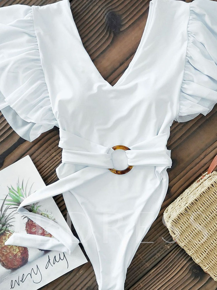 One Piece White Tassel Women's Swimwear