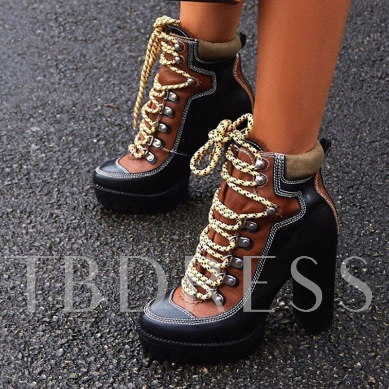 Patchwork Lace-Up Front Chunky Heel Round Toe Ankle Boots