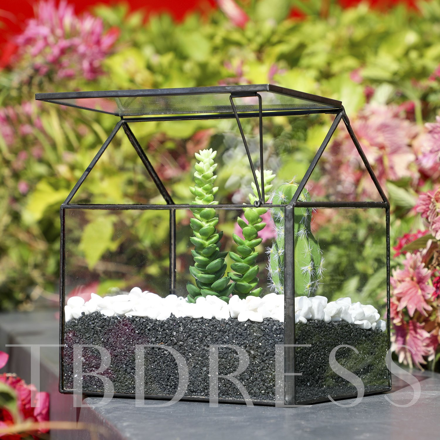 Tin black Geometric Flower Pots Glass