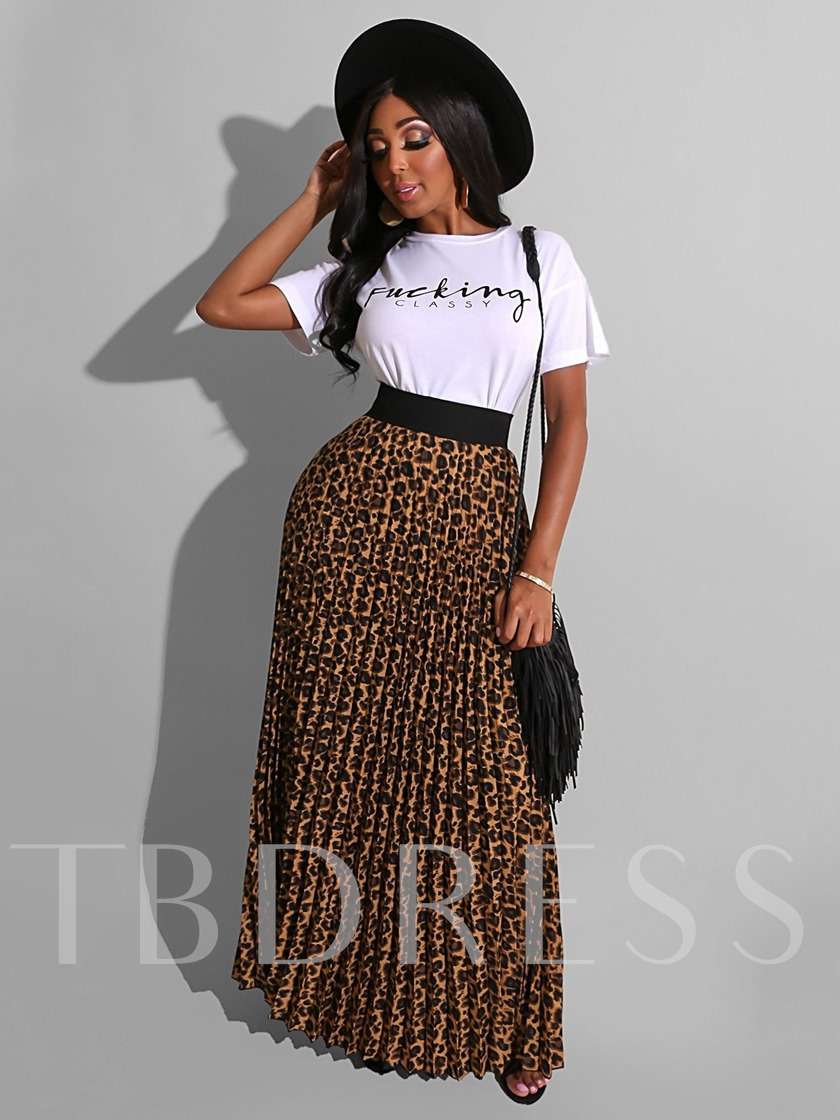 Casual Print Letter Round Neck Women's Two Piece Sets