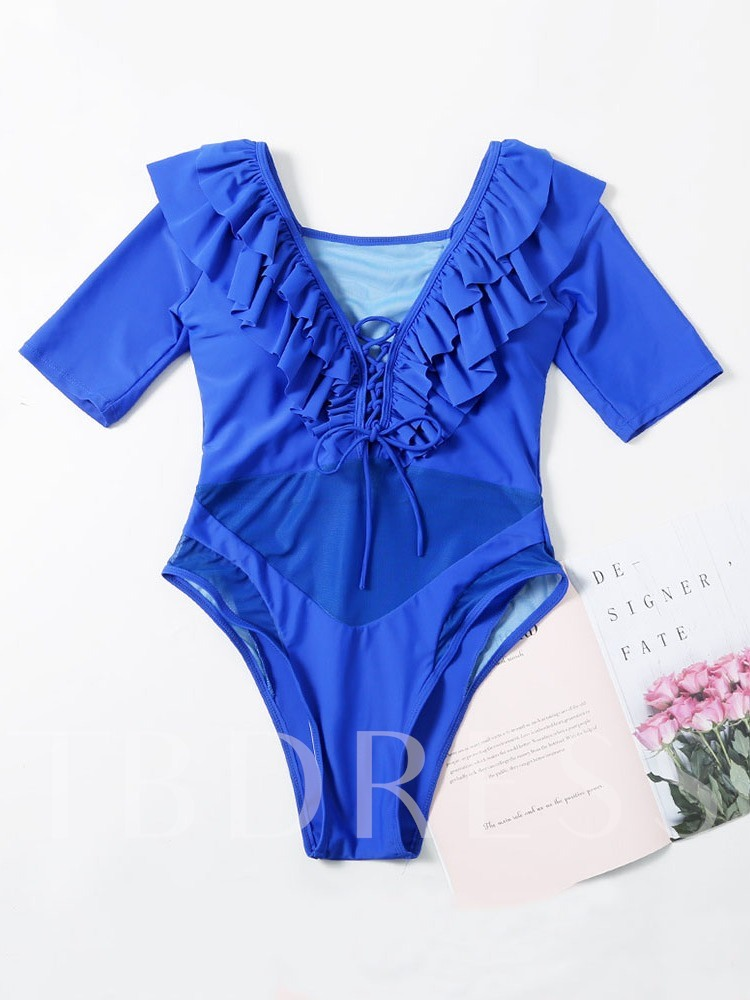 Plain One Piece Tassel Women's Swimwear