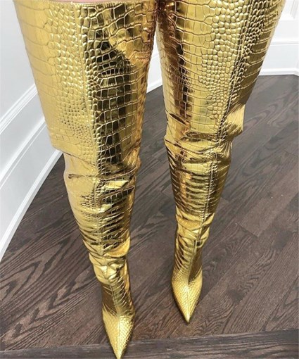 Pointed Toe Back Zip Customized Metallic Tigh High Boots