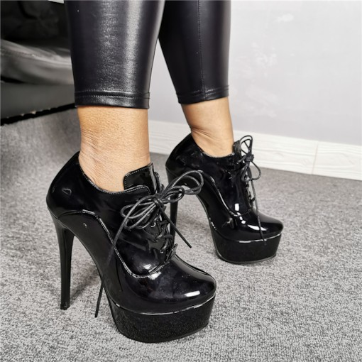 Round Toe Lace-Up Front Customized Booties