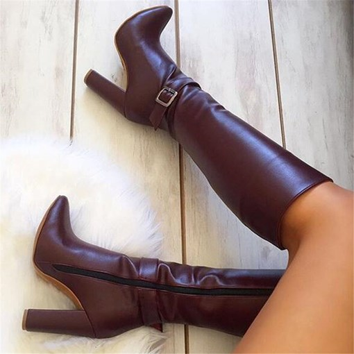 Customized Round Toe Side Zipper Knee-High Boots