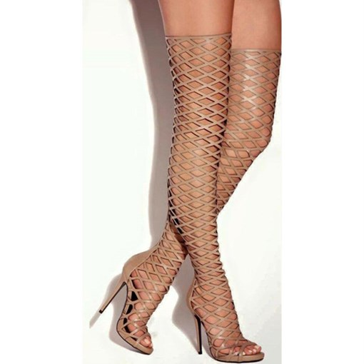 Back Zip Round Toe Hollow Customized Thigh High Sandals