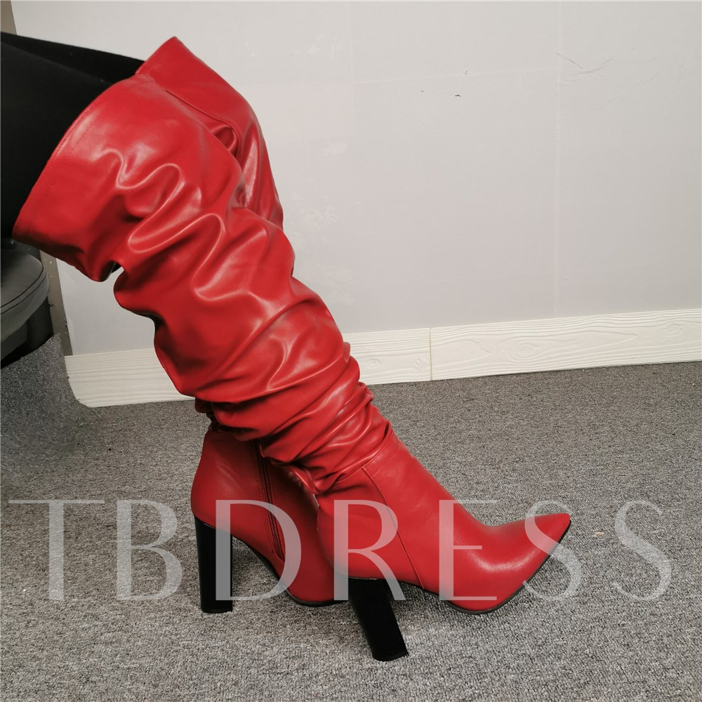 Fashion Side Zipper Pointed Toe Customized Knee High Boots
