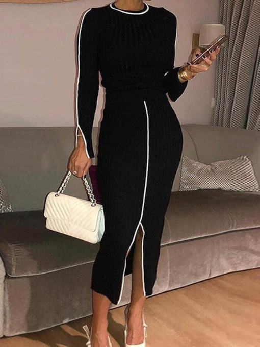Casual Round Neck Split Women's Two Piece Sets