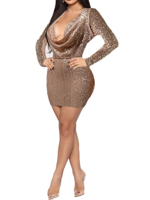 Long Sleeve Above Knee Sequins Spring Women's Dress