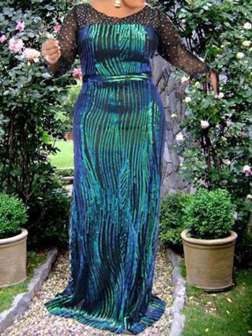Long Sleeve See-Through Round Neck Floor-Length Fall Plus Size Women's Dress