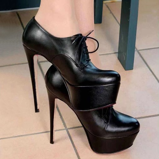 Round Toe Stiletto Heel Lace-Up Platform Heel Pumps