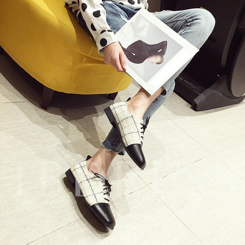 Lace-Up Square Toe Block Heel Casual Shoes