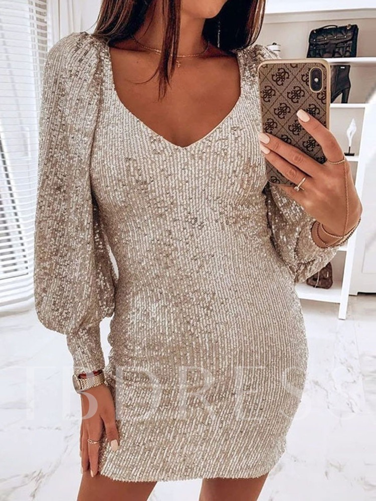 V-Neck Above Knee Long Sleeve Sequins Date Night/Going Out Women's Dress