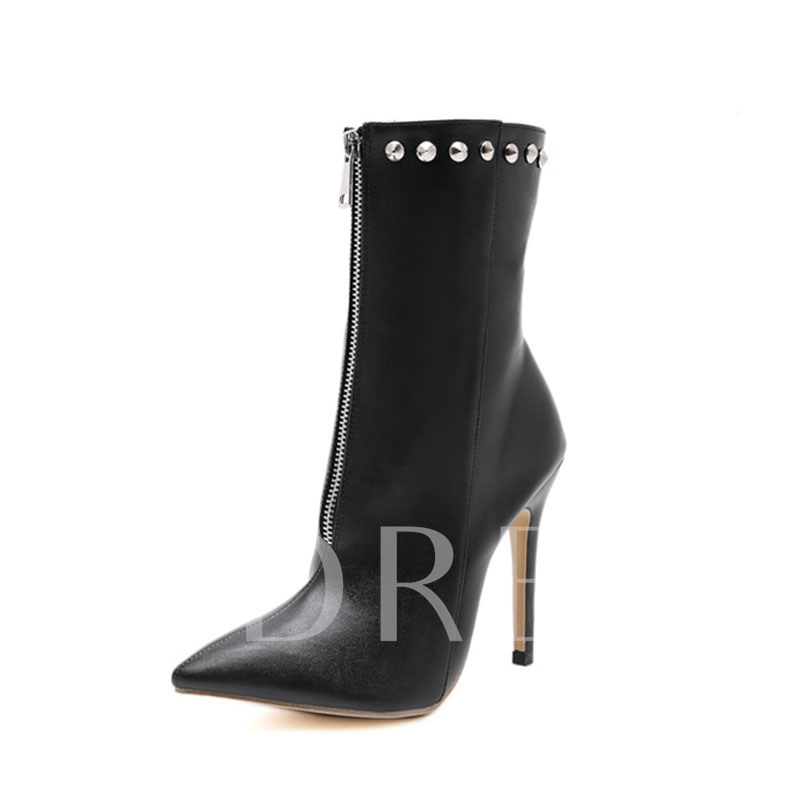 Stiletto Heel Plain Pointed Toe Front Zipper Simple Booties