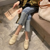Low-Cut Upper Lace-Up Lace-Up Round Toe Casual Flats
