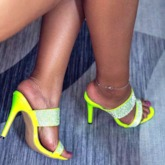 Slip-On Stiletto Heel Rhinestone Neon Sandals