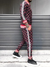 Print Sports Style Plaid Men's Outfit