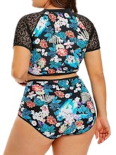 Plus Size Simple Tankini Set Women's Swimwear